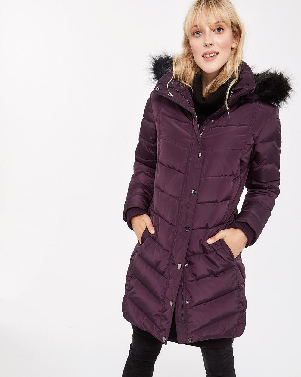 f101177cc02 Faux Down Hooded Coat