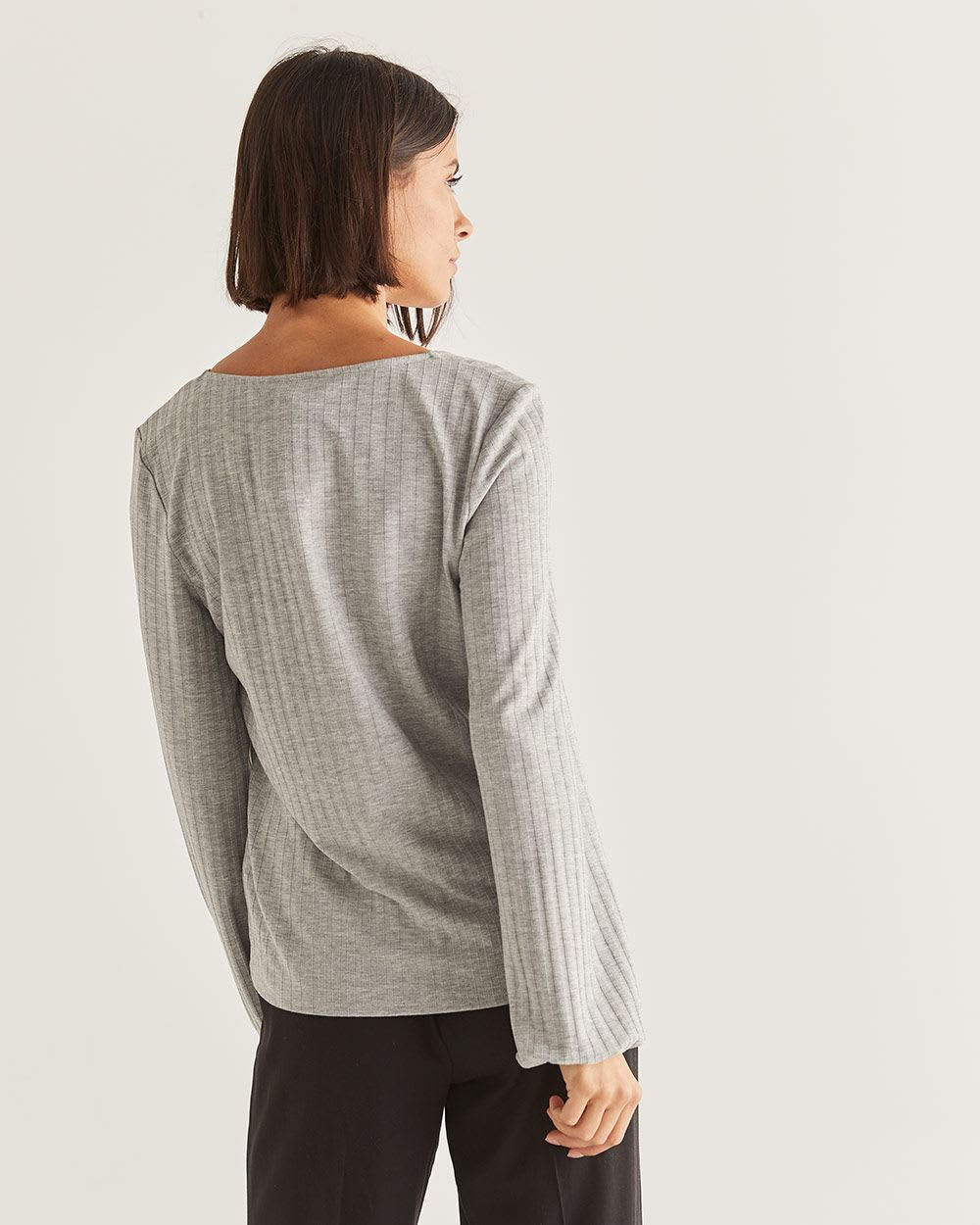 Bubble Sleeve Rib Knit Top - Petite