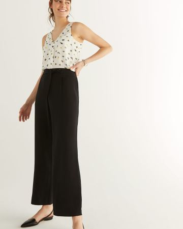 Wide Leg Black Pants with Sash - Tall