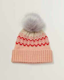Jacquard Hat with Faux Fur Pompom