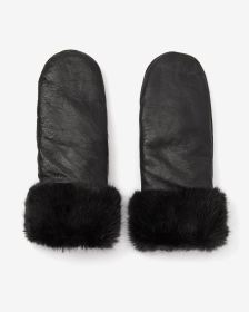 Fur Cuffs Leather Mitts