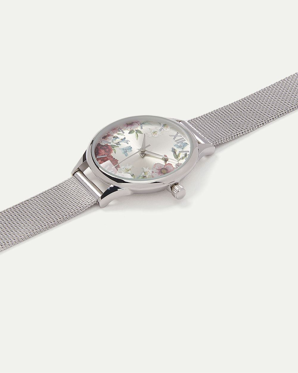 Floral Watch with Mesh Band