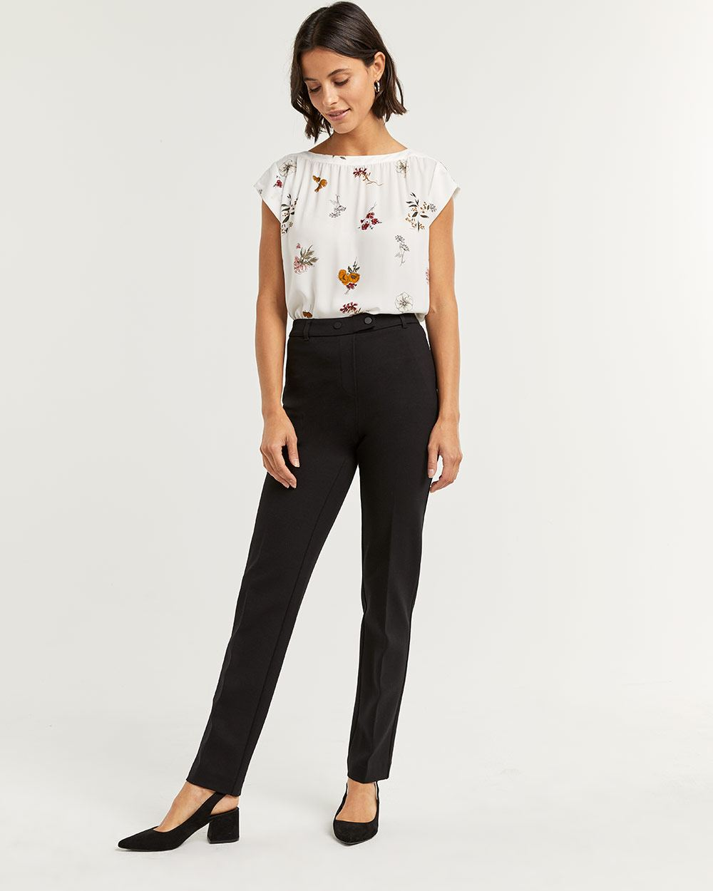 Black Straight Pull On Pants The Modern Stretch - Petite