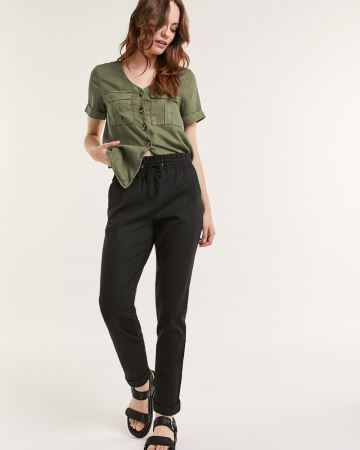 High Rise Tapered Pants With Drawstring