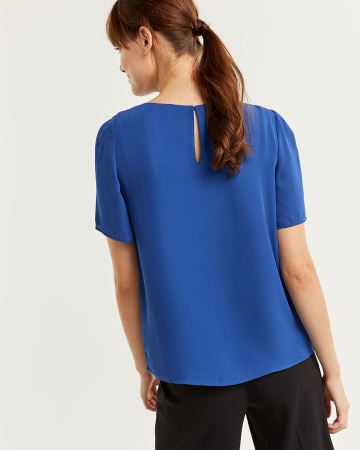 Pleated Crew Neck Blouse