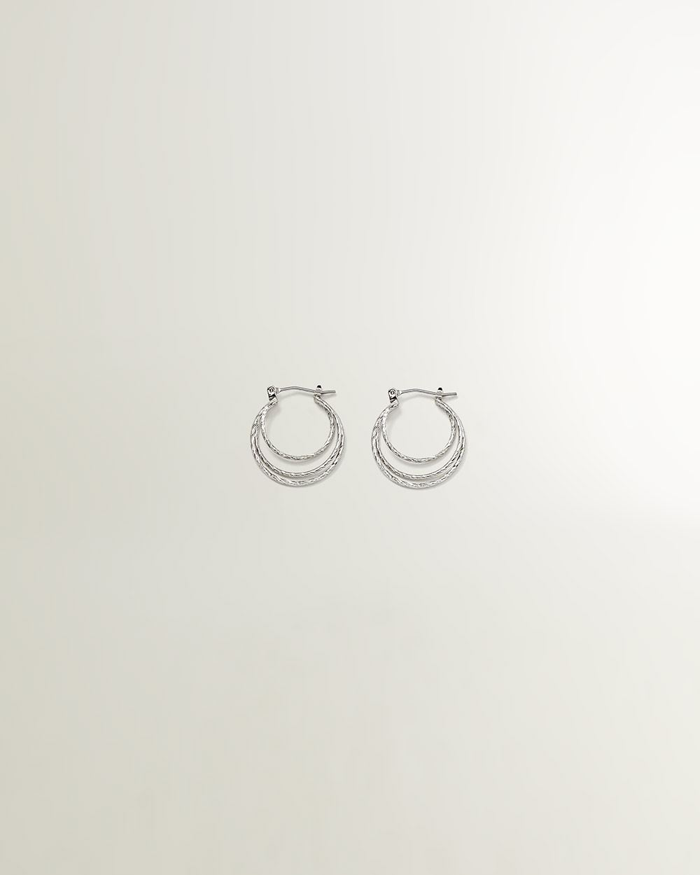 3-Level Silver Hoop Earrings