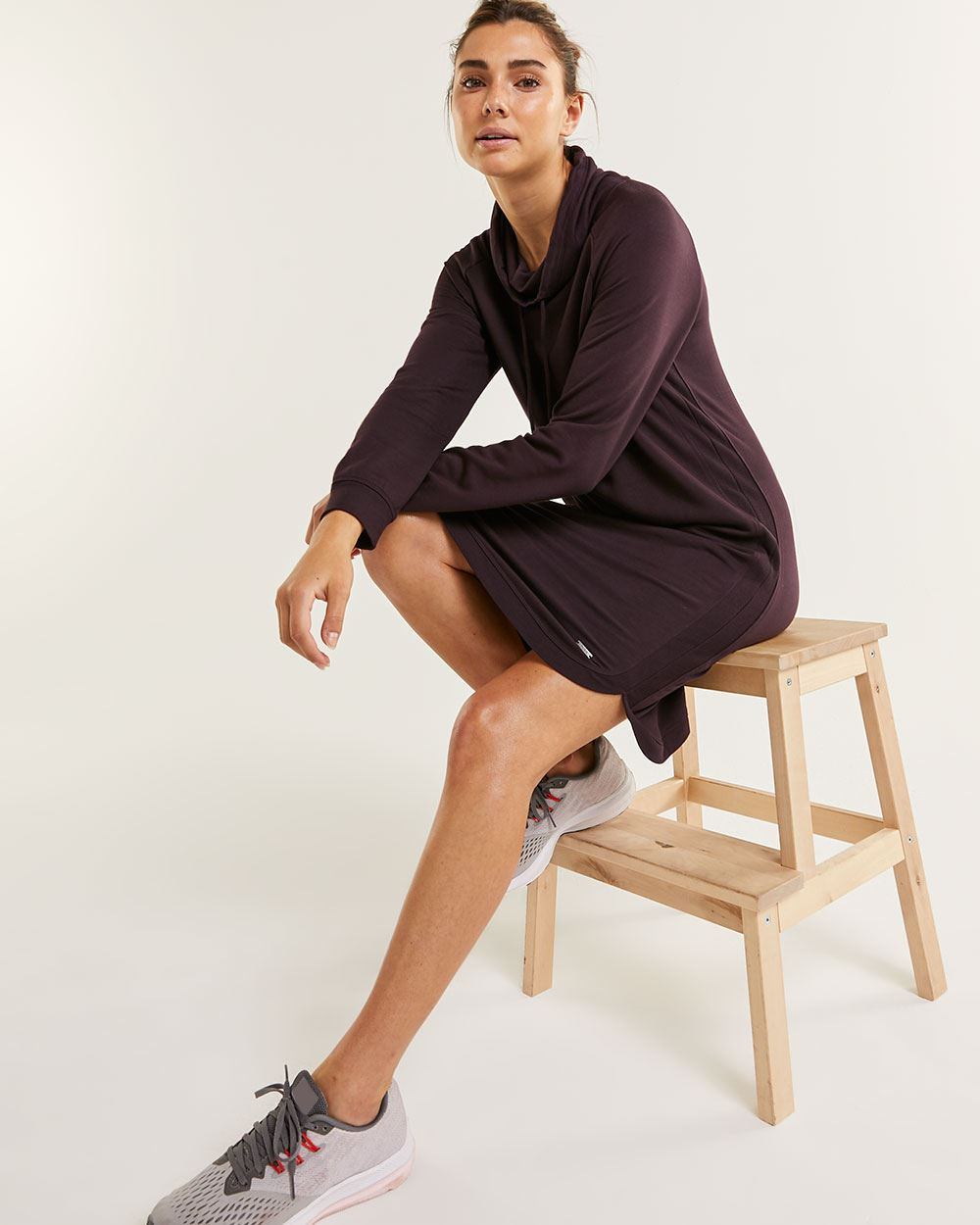 Long Sleeve Cowl Neck Fleece Dress Hyba