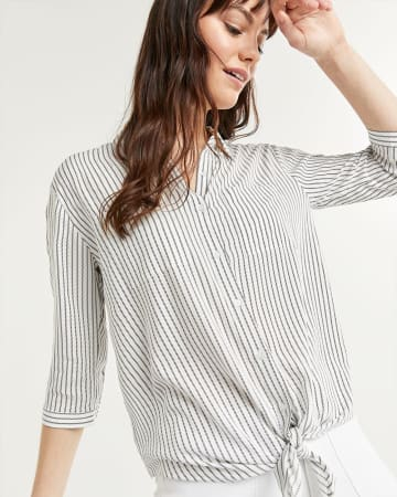 3/4 Sleeve Striped Blouse with Knotted Hem