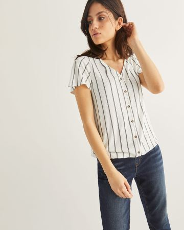 Stripe Tee with Flutter Sleeves