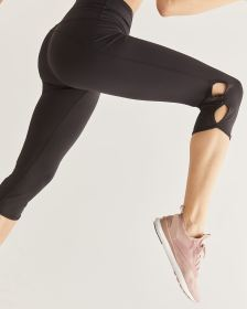 Hyba Black Capri Leggings with Side Keyholes