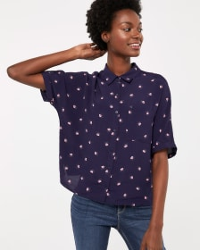 Crop Blouse with Square Pocket