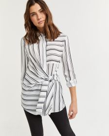 Striped Blouse with Front Knot