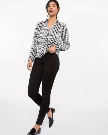 Wrap Plaid Blouse