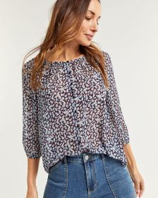 3/4 Sleeve Chiffon Buttoned-Down Blouse