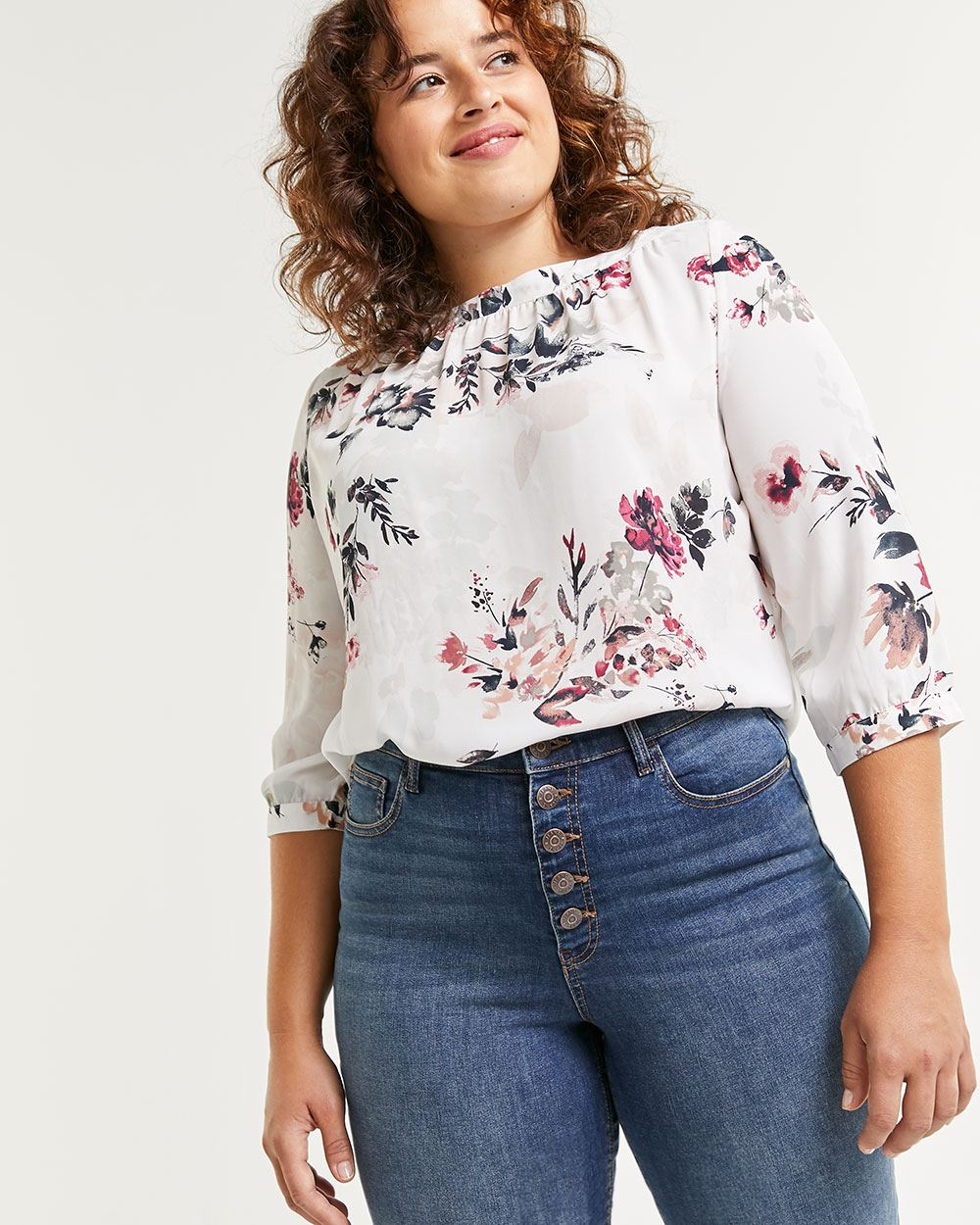 3/4 Sleeve Boat Neck Printed Blouse