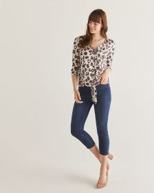 3/4 Sleeve Printed Tee with Front Tie - Petite
