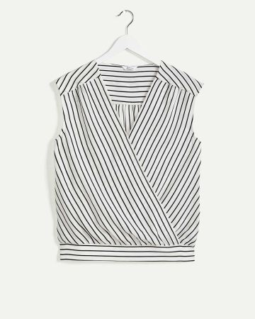 Short Sleeve Wrap Neckline Printed Blouse with Shirring