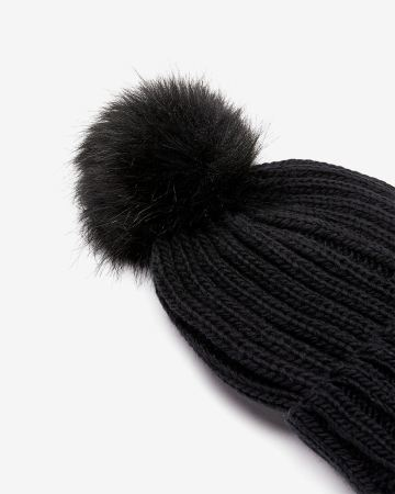 Faux-fur Pompom Knit Hat