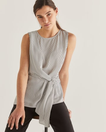 Striped Sleeveless Knotted Blouse