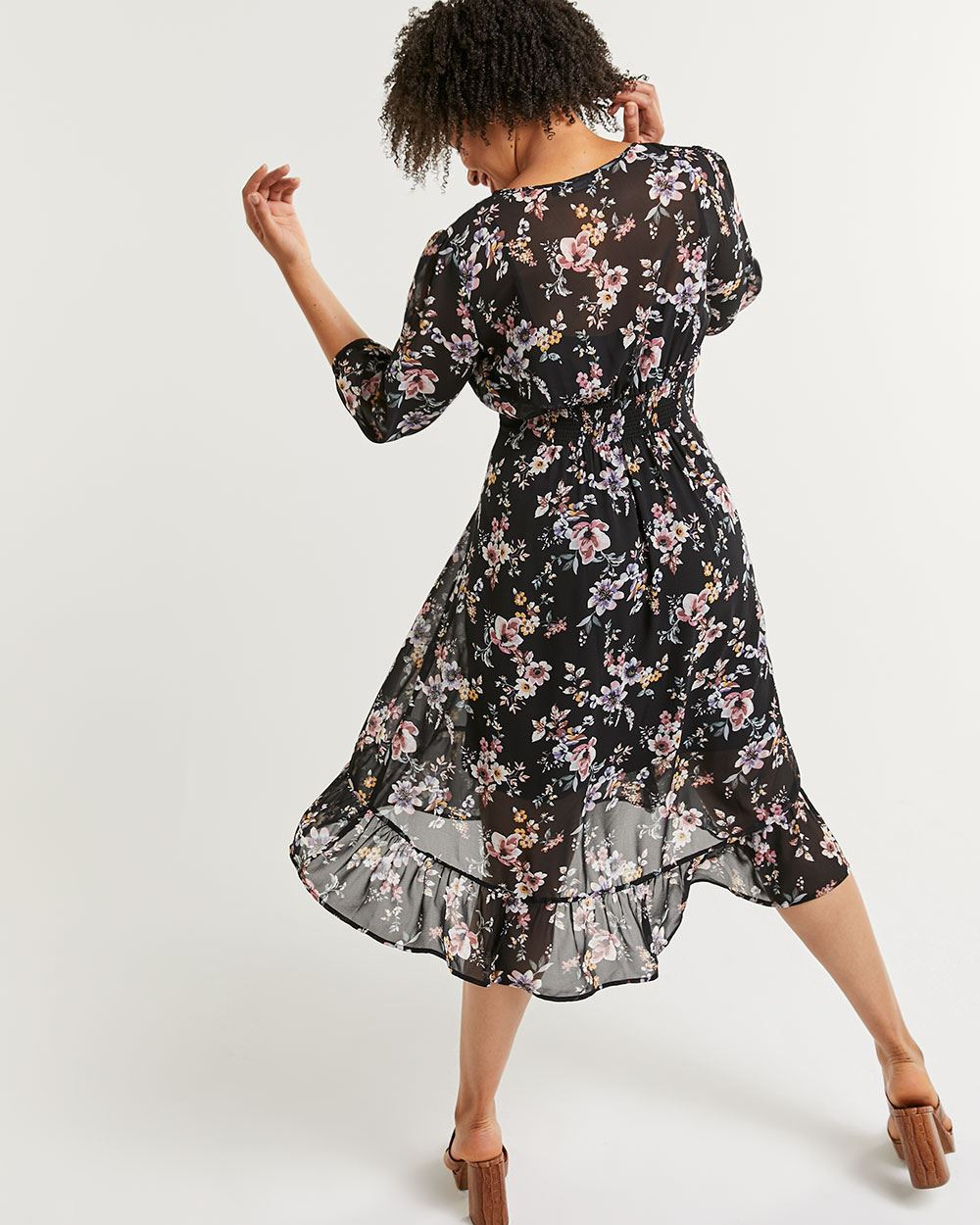 3/4 Sleeve Printed Midi Dress with Elastic Waist