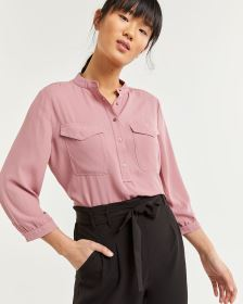 3/4 Sleeve Mao Collar Blouse