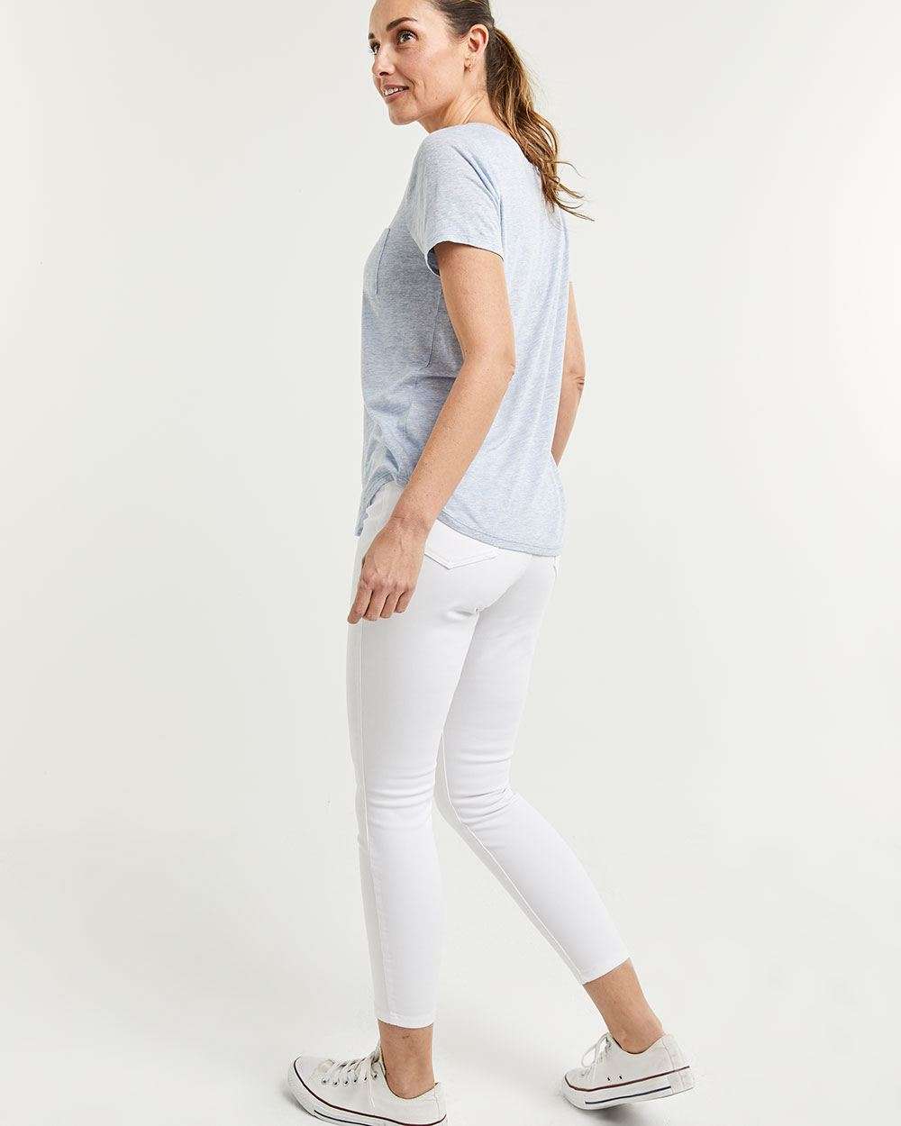 Linen-Blend Tee with Pocket
