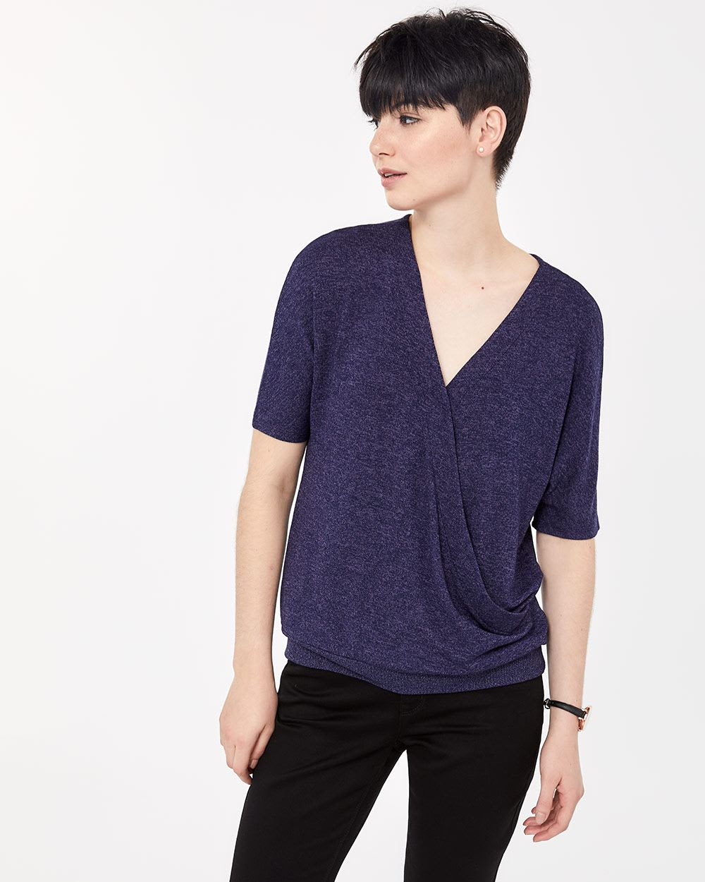 Dolman Short Sleeve Solid Top
