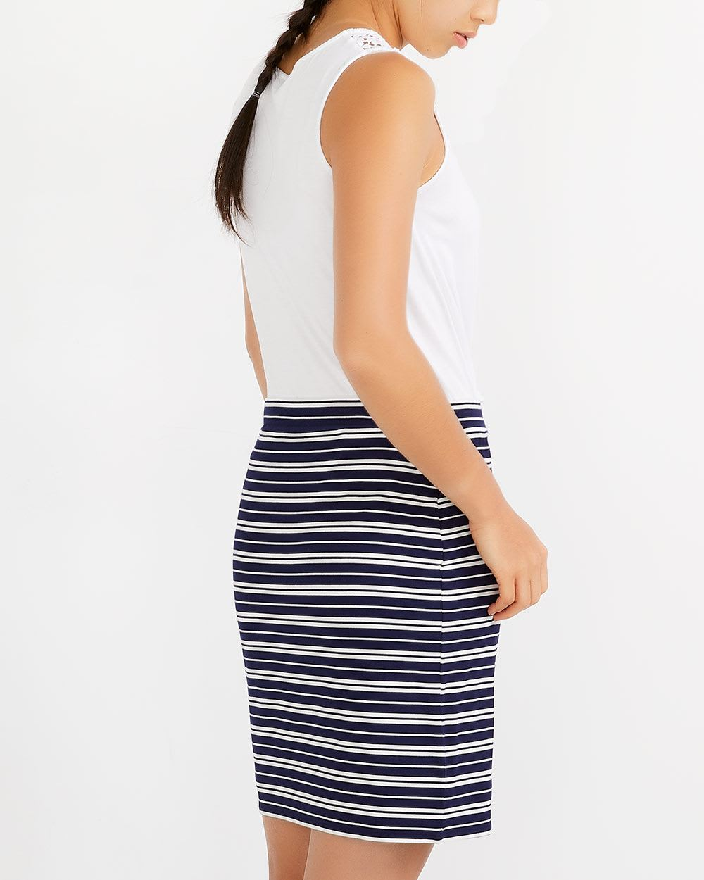 Elastic Waistband Striped Skirt