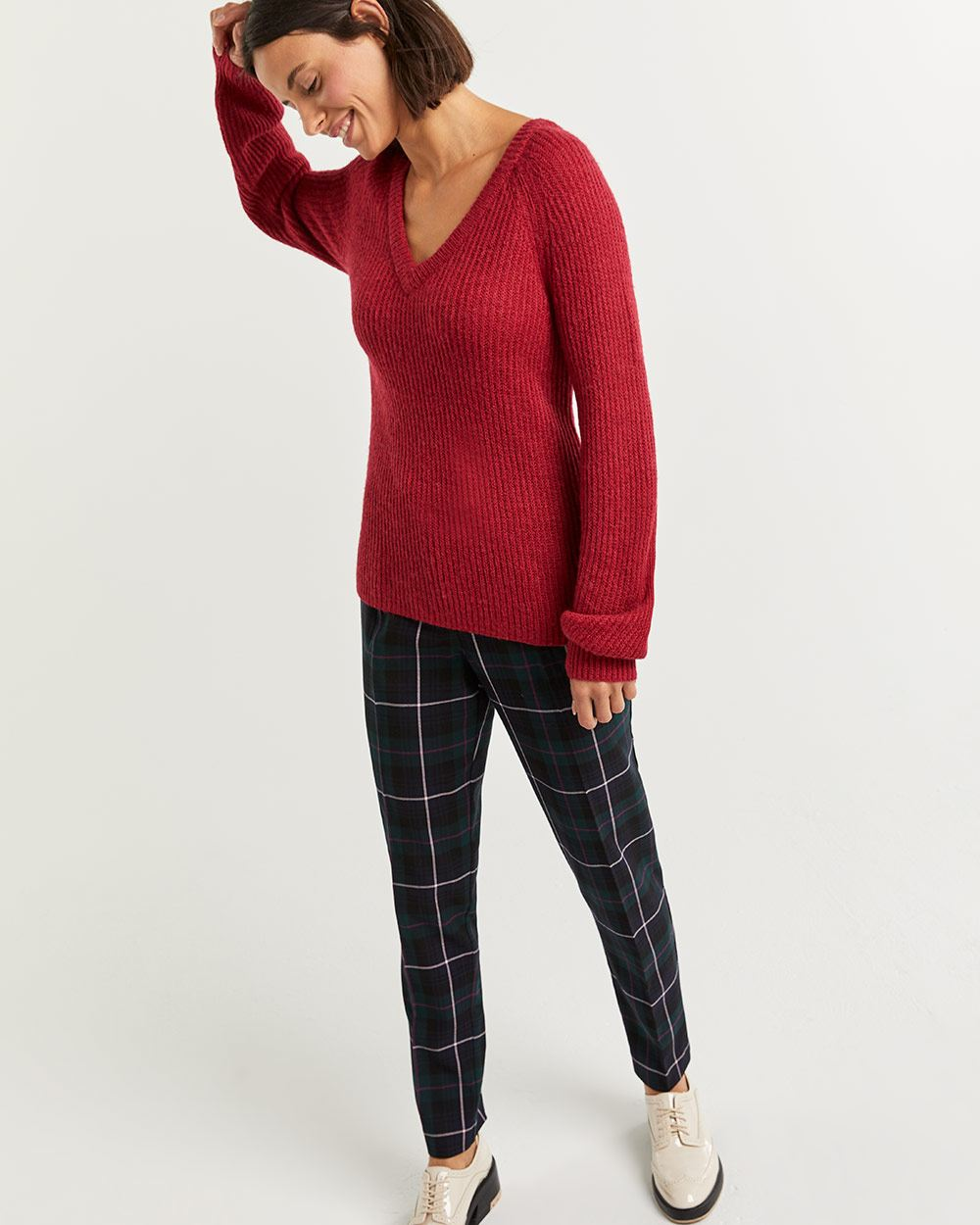 V-Neck Sweater with Balloon Sleeves