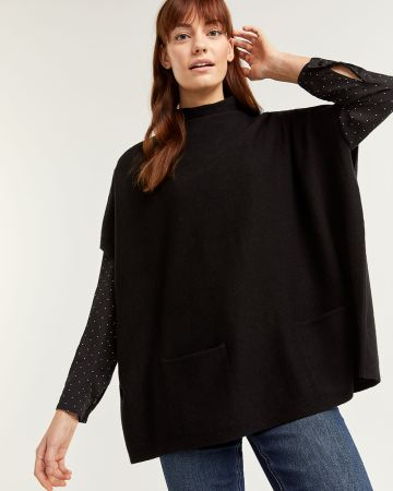 Funnel Neck Poncho with Pockets