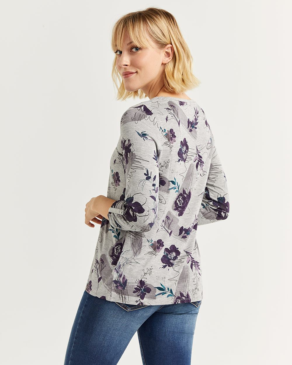 3/4 Sleeve Printed Henley Top