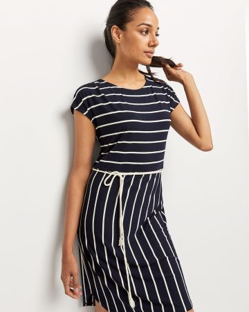 Short Sleeve Striped Shift Dress with Braided Cord