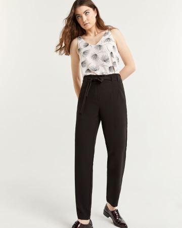 Pantalon à jambe étroite et à taille froncée - Long 634ceef770d2