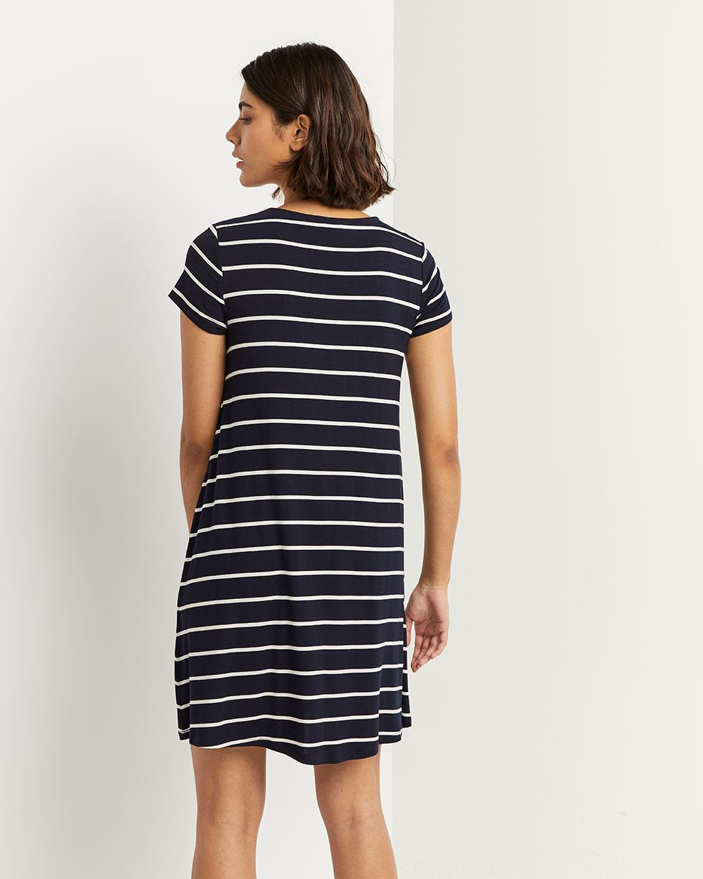 Short Sleeve Striped Swing Dress with Buttons