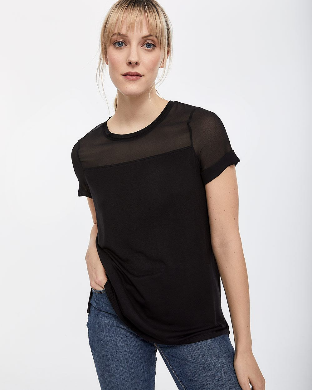 T-shirt à empiècements en chiffon