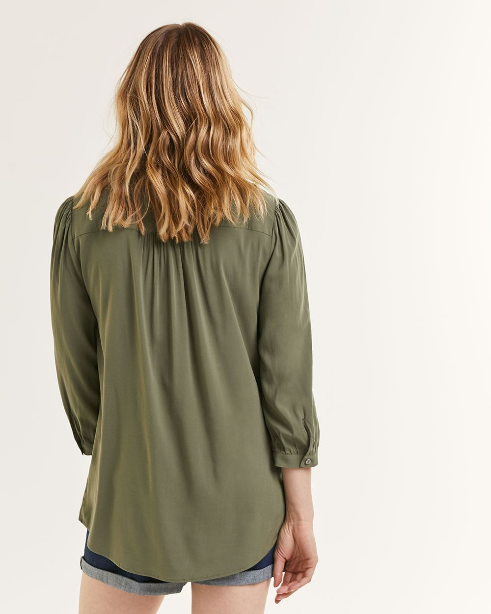 3/4 Ballon Sleeve Crew Neck Blouse