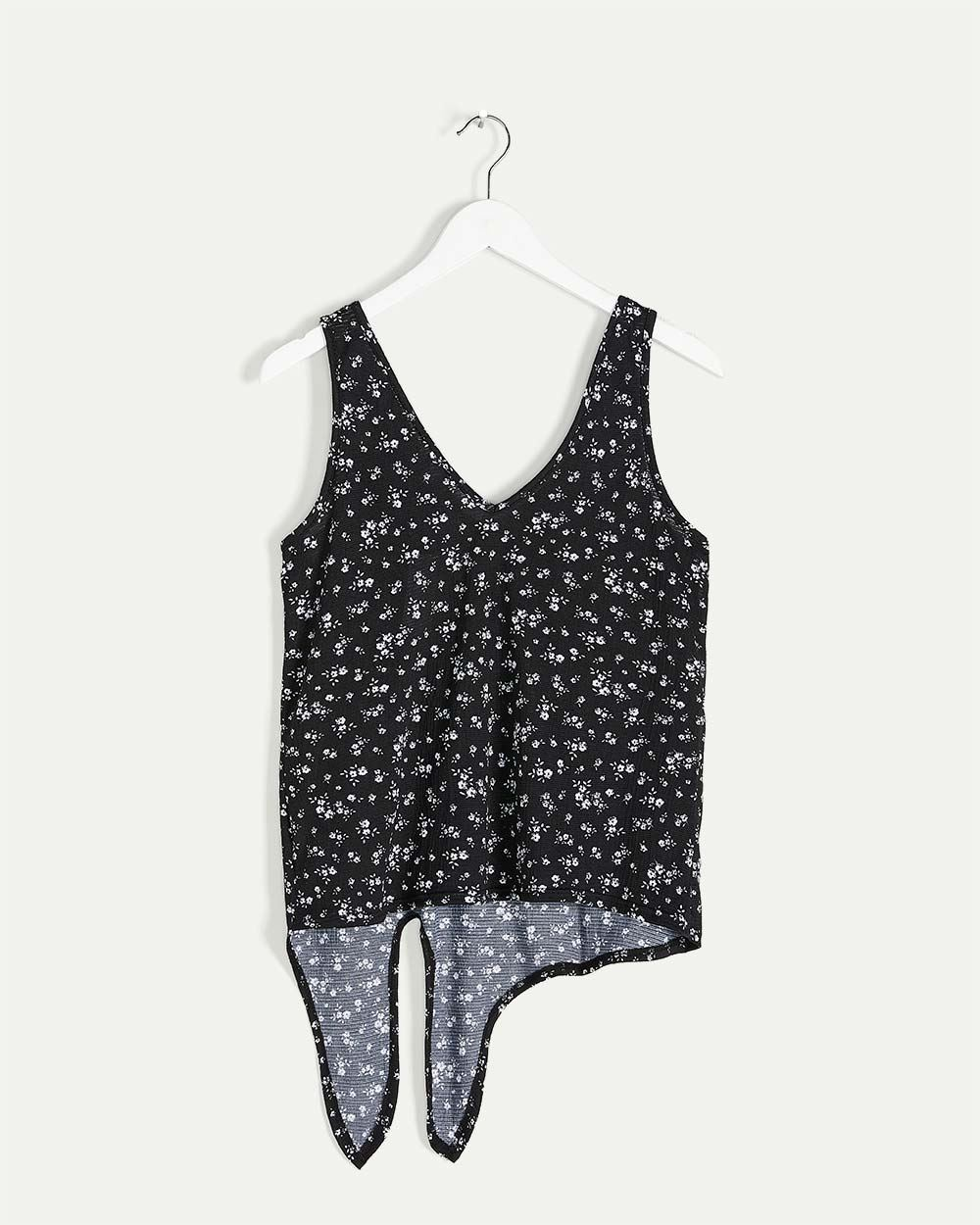 Front Tie Printed Tank