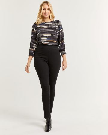 High Rise Black Denim Pull On Jeggings - Petite