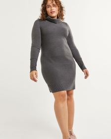 Long Sleeve Split Neck Sweater Dress