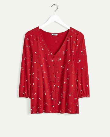 3/4 Sleeve V-Neck Printed Top with Buttons - Petite