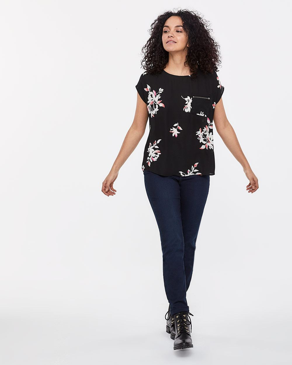 Zippered Pocket Printed Top