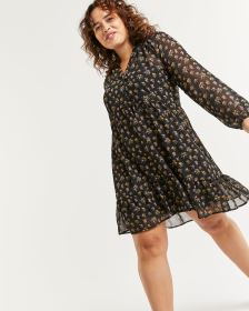 Smocked Collar Printed Dress