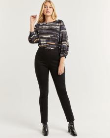 High Rise Black Denim Pull On Leggings