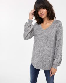 Pearl-embroidered Balloon Sleeve Sweater