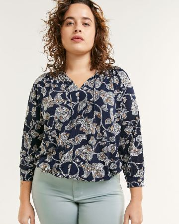 3/4 Sleeve Printed Peasant Top