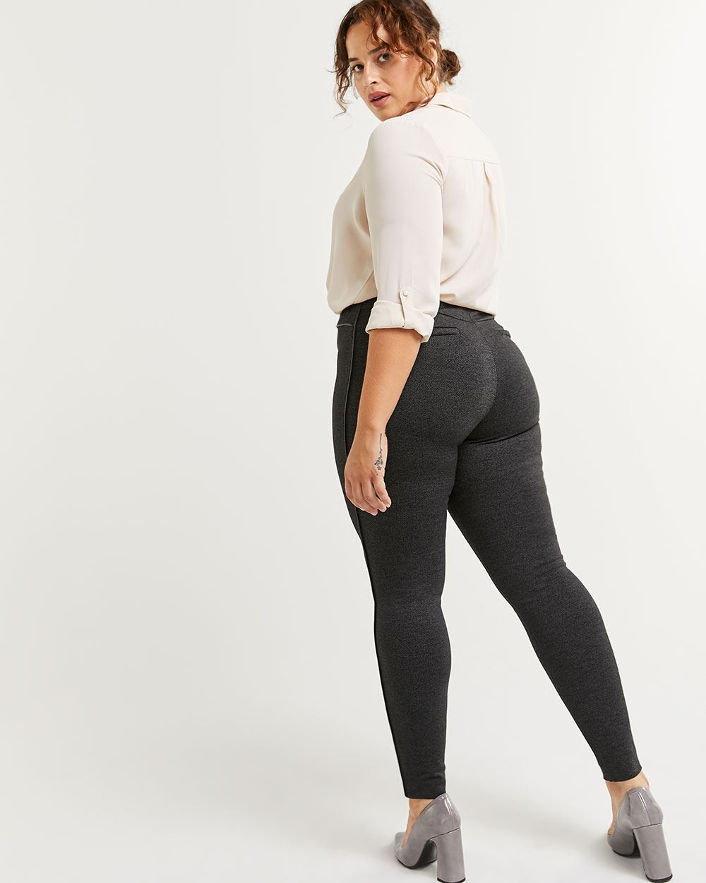 Faux Leather Trim High Rise Leggings