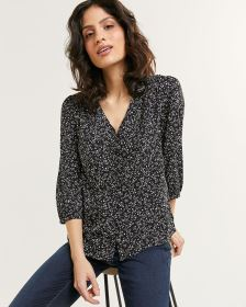 3/4 Bubble Sleeve V-Neck Printed Blouse
