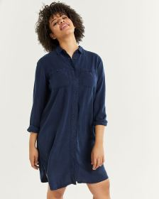 Tencel Shirt Dress with Chest Pockets