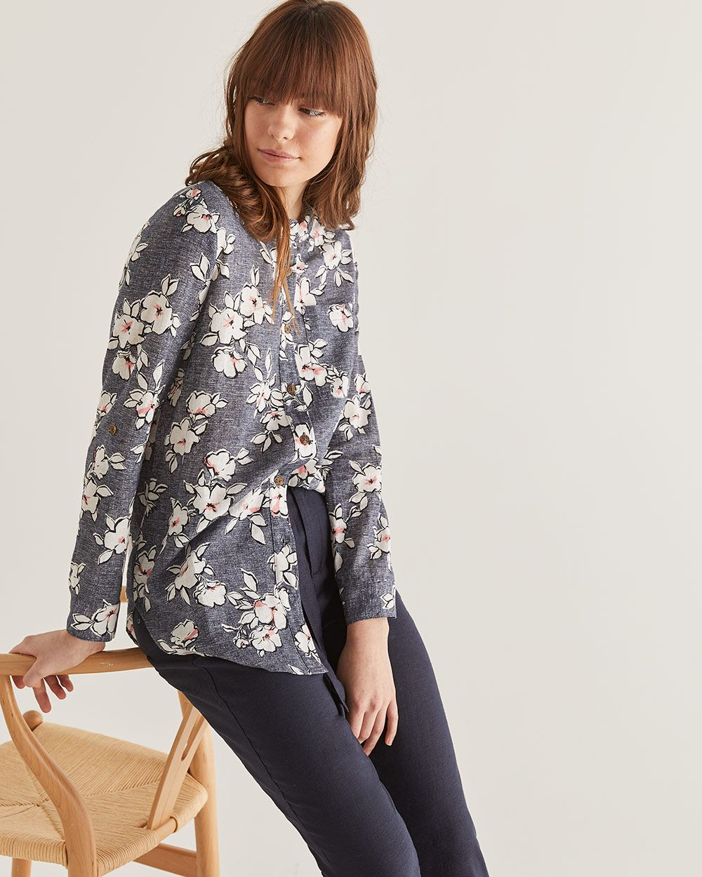 Linen-Blend Floral Printed Mao Collar Shirt