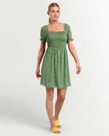 Printed Swing Dress With Smocking